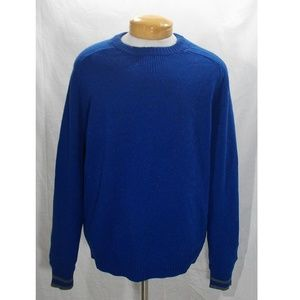 Lands End Lambswool Crewneck Sweater XL Blue